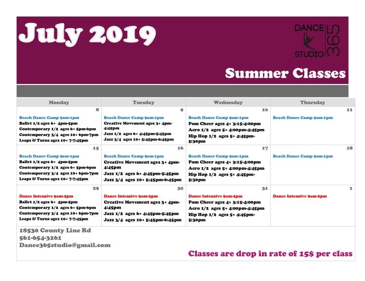 July schedule 2019